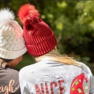 Simply Southern Red Sequin Pom Beanie